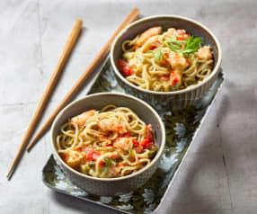 Nouilles chinoises aux gambas pimentées