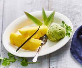 Ananas cuit aux vapeurs de  vanille, sorbet à la coriandre