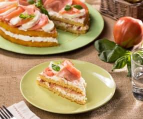 Pan di Spagna salato pomodori, crudo e mozzarella