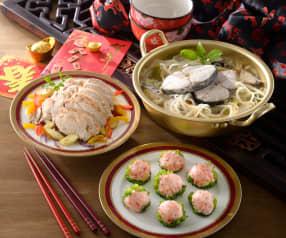 土魠魚米粉湯、百花蝦球&彩蔬雞柳