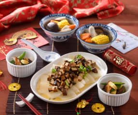 冬菇玉米湯、山藥茶碗蒸&梅干蒸冬瓜