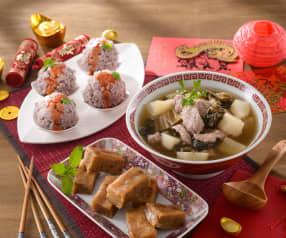 福菜肉片湯、芋絲肉丸&桂圓年糕