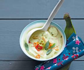 Curry vert de bananes plantain