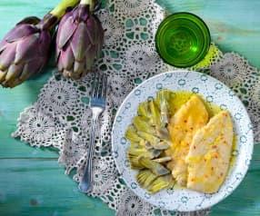 Petto di pollo al lime e carciofi