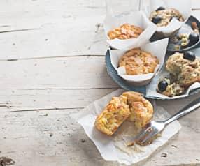 Muffins de brócoli y atún y de zanahoria, parmesano y beicon