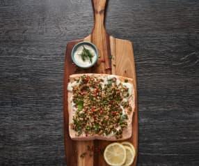 Salmon with yoghurt dressing