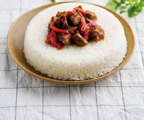 Guisado de borrego com arroz a vapor