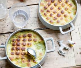 Gratin de ravioles, céleri et poireaux