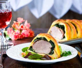 Filetto di maiale ed erbette in gabbia di pane