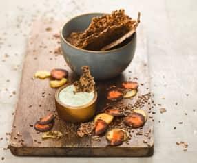 Zeleninové krekry a bylinkový dip