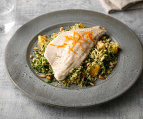 Steamed Sea Bass with Watercress Orange Couscous