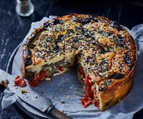 Herzhafter Käsekuchen mit Auberginen und Tomaten