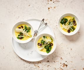 Epinards, fenouil et olives vapeur (Christophe Aribert)