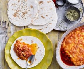 Chili mexicano de queijo e chouriço