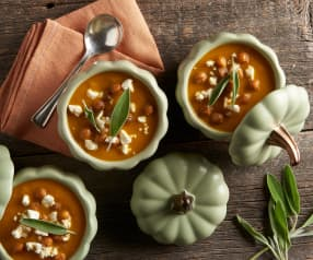Pumpkin Soup with Crispy Chickpeas