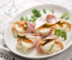 Pražské vejce podávané na večírcích Adiny Mandlové