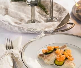 Orata ripiena con gamberi e zucchine in crosta di sale