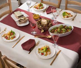 Menú Navidad 1: Cogollos de lechuga con muffins de salmón. Carrilleras con sepia y romanescu. Turrón de chocolate y crema de whisky