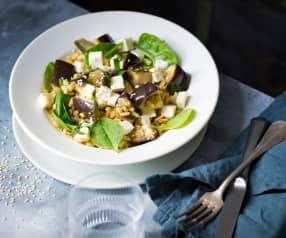 Salade d'aubergines au blé et à la feta