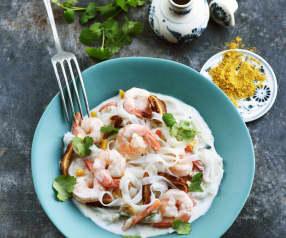 Curry de crevettes, légumes et nouilles