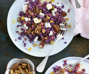 Salade de chou rouge et patate douce aux noix