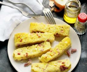 Tortilla aux oignons et aux lardons