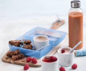 Batony energetyczne, pudding ryżowy na parze i sok marchewkowy