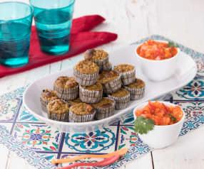 Muffin di platano e tonno con salsa piccante