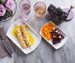Spiedini di salmone con salsa miele e zenzero (per 2 persone) (senza glutine)