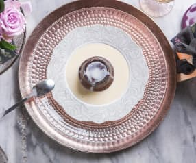 Tortini di cioccolato all'olio e crema inglese (per 2 persone) (senza glutine)