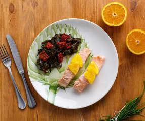 Salmone all'arancia con agretti