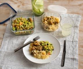 Menú para uno: Limonada de pepino y manzana. Ensalada de brócoli y manzana. Pollo con salsa chimichurri y cuscús