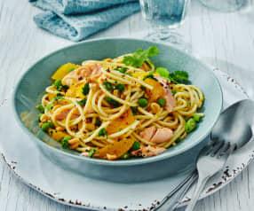 Orangen-Spaghetti mit Lachs