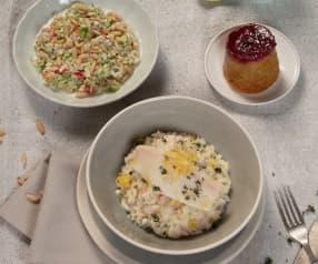 Menü: Rohkostsalat, Forelle mit Zitronenrisotto und Marmeladeküchlein