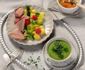 Menü: Petersiliencremesuppe, Gemüse-Lachs-Päckchen & Crème Brûlée