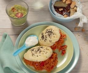 Menü: Avocadotöpfchen, Pulled Chicken im Bun und Schokobananen