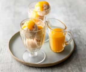 Rice Pudding Ice Cream with Peach Coulis