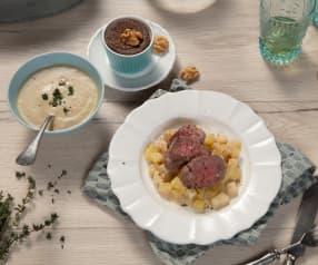 Menü: Maronicremesuppe, Rinderfilets mit Sellerie-Erdäpfel-Gemüse und Schokotraum