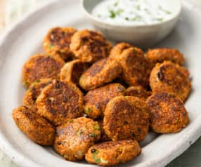 Spiced Carrot Fritters with Yoghurt Dip