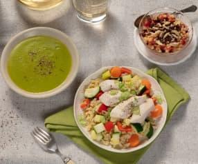 Menü: Gemüsecremesuppe, bunter Weizen mit Hendlbrust und Apfelkompott