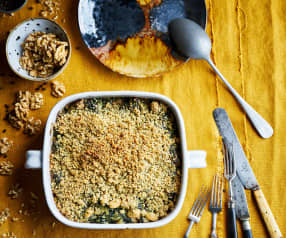 Crumble de espinafres, feijoca e ricota