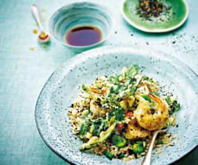Donburi aux tempura de crevettes et wakamé
