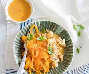Poulet, carotte, papaye et basilic