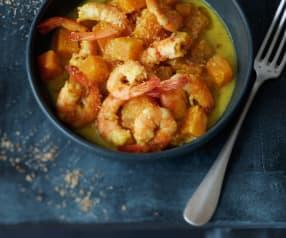 Curry de potiron aux crevettes