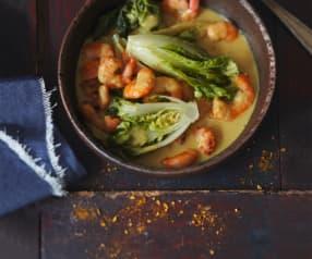 Curry de crevettes et choux pak-choï