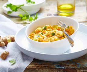 Curry de crevettes aux poireaux et carottes