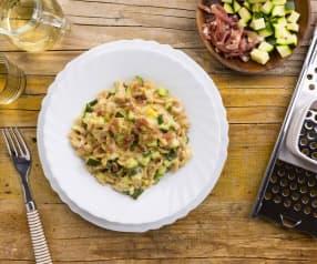 Spatzle di farro con speck e zucchine