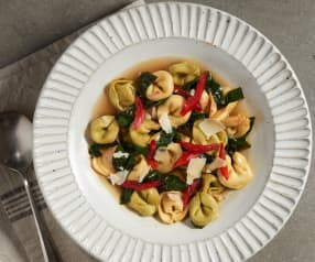 Chard in Parmesan Broth with Tortellini