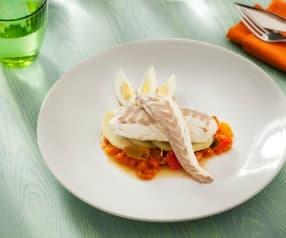 Ratatouille en zeebaars met aardappelen en eieren