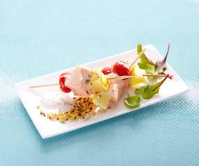 Brochettes tricolores de saumon